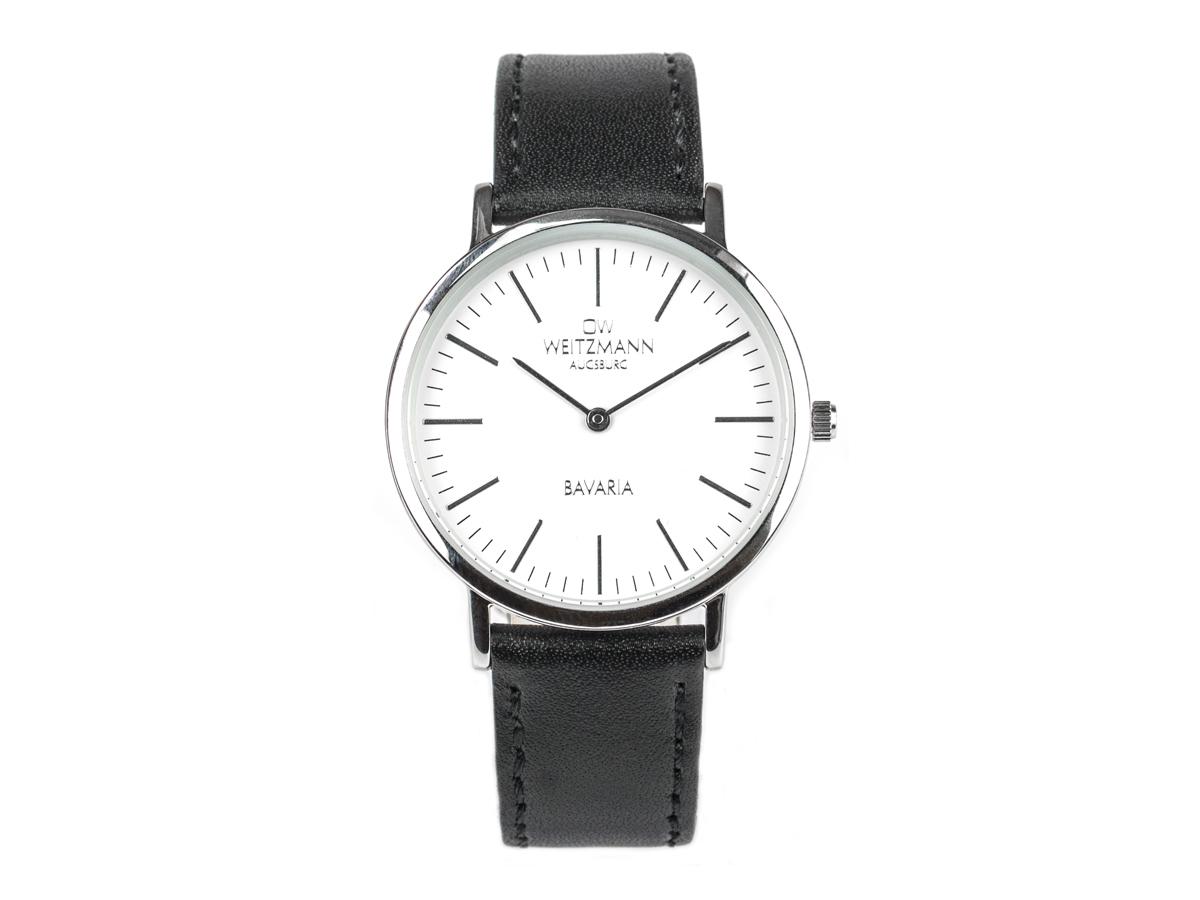 Bavaria Damen, superflache elegante Damen-Uhr, Gehäuse silber, Echtlederband schwarz