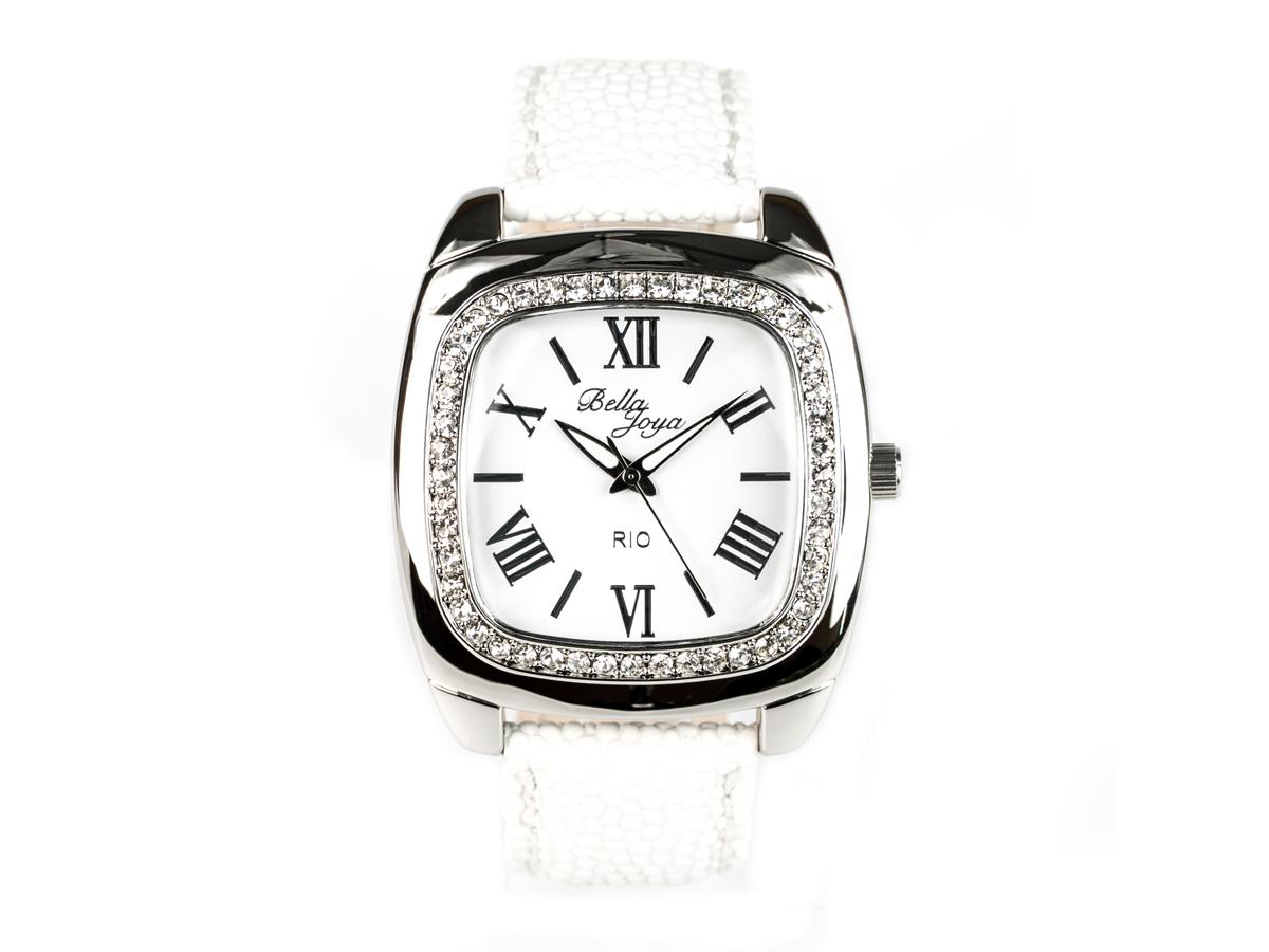 Rio, elegante Trend-Uhr im Retro-Style, Rochen-Struktur-Echtlederband weiß
