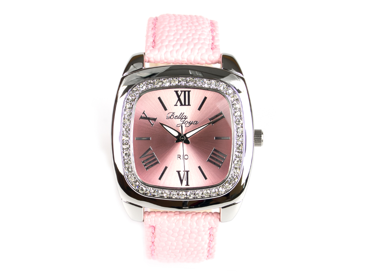 Rio, elegante Trend-Uhr im Retro-Style, Rochen-Struktur-Echtlederband rosa