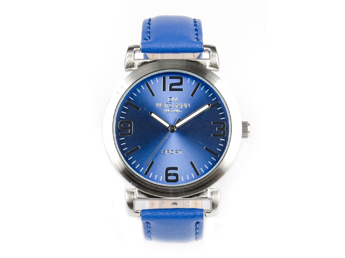 Sport, sportliche Unisex-Armbanduhr blau, mit Echtlederband
