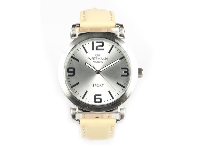 Sport, sportliche Unisex-Armbanduhr, mit silbernem Ziffernblatt, und creme Echtlederband