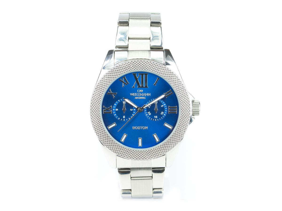 Boston, elegante Herren-Uhr, mit blauem Zifferblatt, mit Edelstahlband