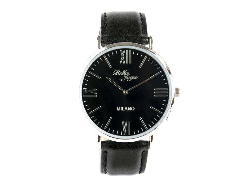 Milano, superflache Fashion-Uhr, Echtlederband schwarz