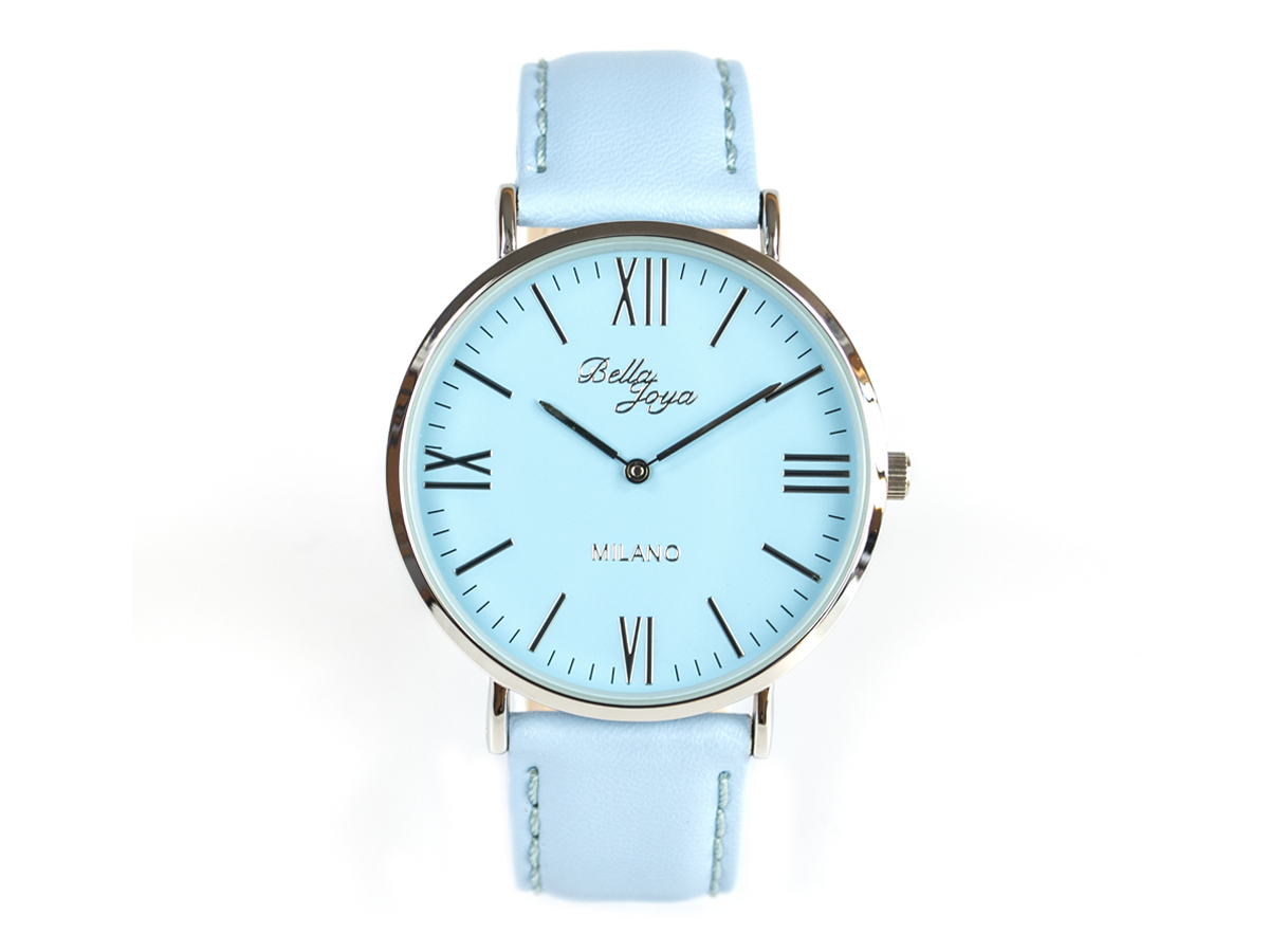 Milano, superflache Fashion-Uhr, Echtlederband hellblau