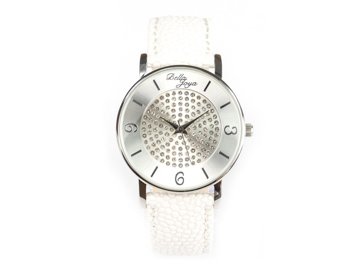 Lu, moderne Damen-Uhr, mit funkelnden Schmucksteinen, Rochen-Struktur-Echtlederband weiß