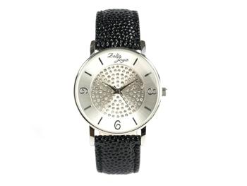 Lu, moderne Damen-Uhr, mit funkelnden Schmucksteinen, Rochen-Struktur-Echtlederband schwarz