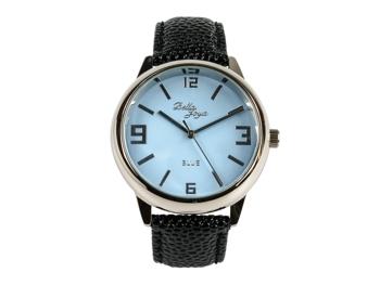 Blue, formschöne Uhr im Retro-Style, Trendfarbe Blau, Rochen-Struktur-Echtlederband schwarz