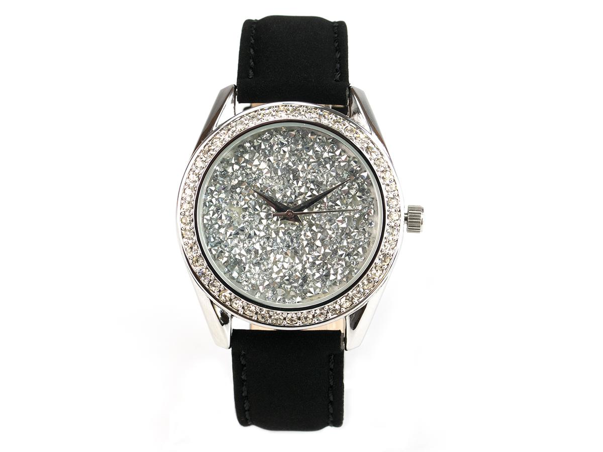 Paris, funkelnde Glamour-Uhr, silbernes Gehäuse mit silbernem Ziffernblatt, Echtlederband Samteffekt