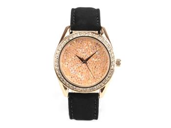 Paris, funkelnde Glamour-Uhr, rotgoldenes Gehäuse, Schmucksteinen, Echtlederband Samteffekt
