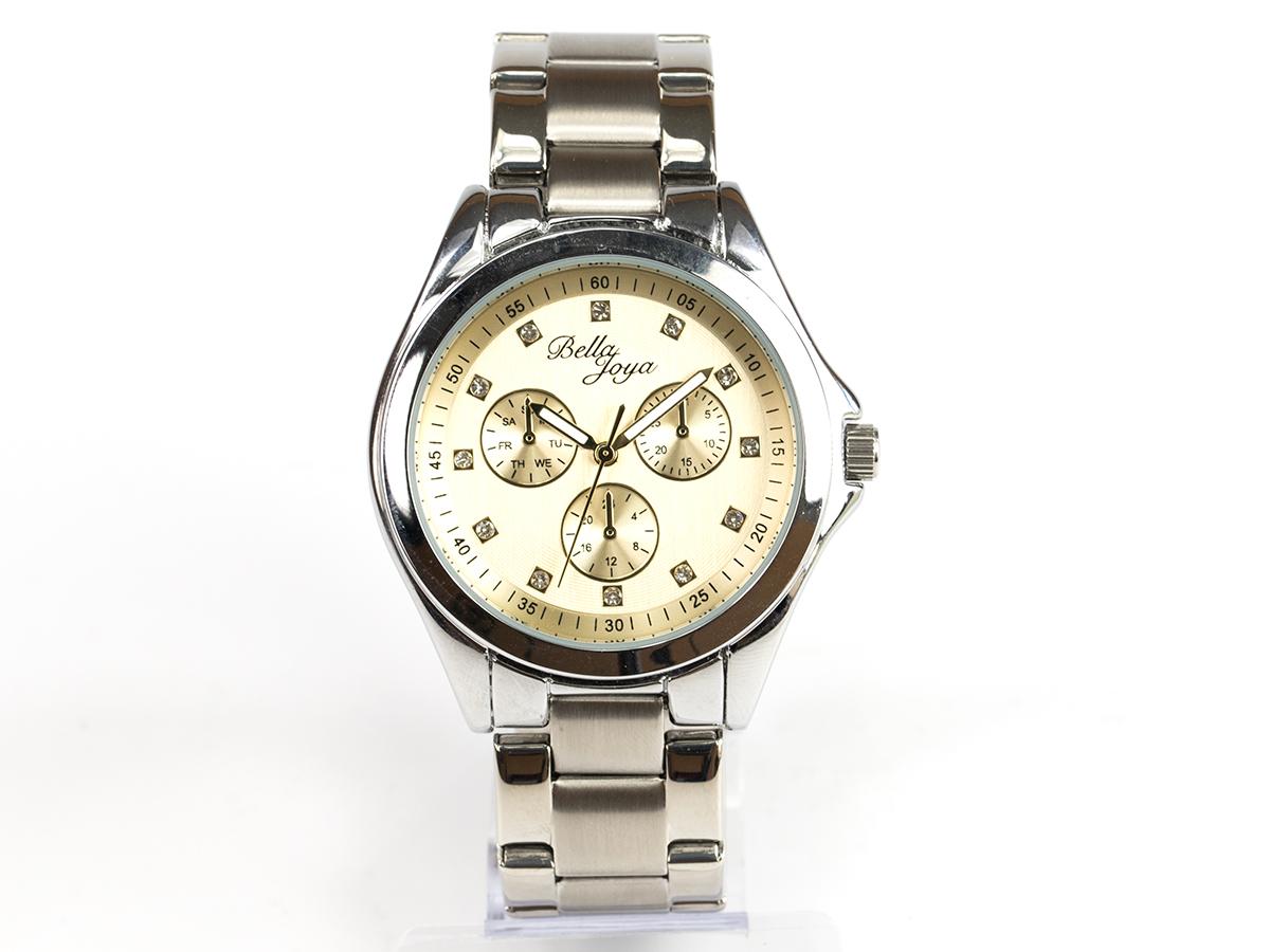 Venedig, edle Damen-Uhr, Zifferblatt gold & Edelstahlband silber
