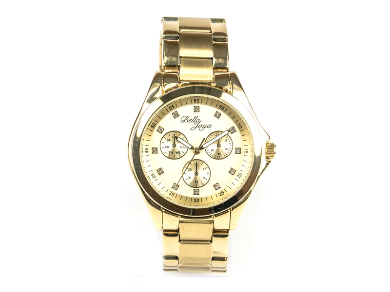 Venedig, edle Damen- Uhr, Zifferblatt gold & Edelstahlband gold