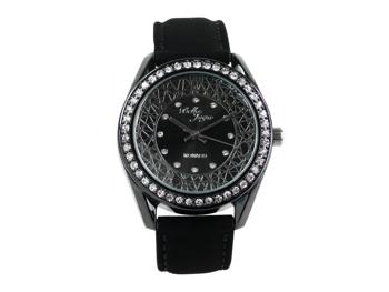 Monaco, Edle-Damen-Uhr, schwarzes Gehäuse, Schmucksteinen, Echtlederband Samteffekt