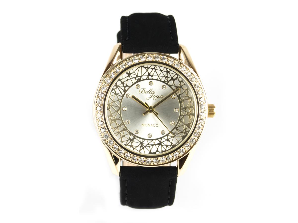 Monaco, edle Damen-Uhr, goldenes Gehäuse, Schmucksteinen, Echtlederband Samteffekt