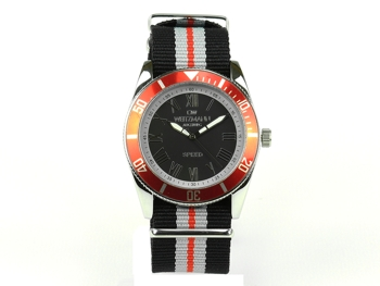 Speed black-striped natoband, red bezel