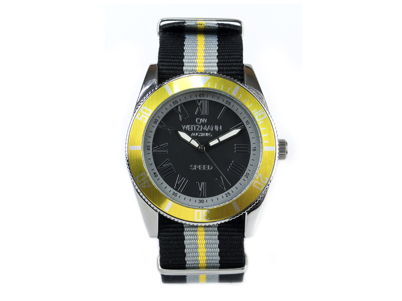 Speed, aktuelle Unisex Armband-Uhr, gestreiftes Natoband, gelbe Lünette