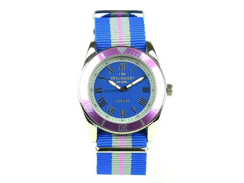 Speed, aktuelle Unisex Armband-Uhr, gestreiftes Natoband, rosa Lünette