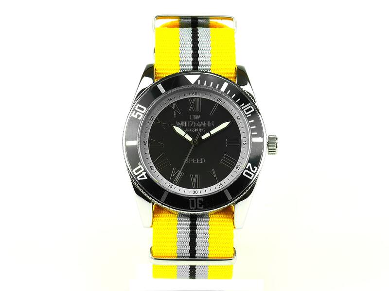 Speed, aktuelle Unisex Armband-Uhr, gestreiftes Natoband, schwarze Lünette