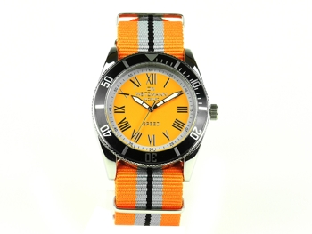 Speed orange striped natoband, black bezel