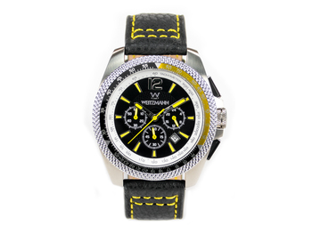 Race One yellow, black dial, buffalo leather strap