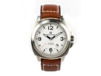 1955, silver case, white dial
