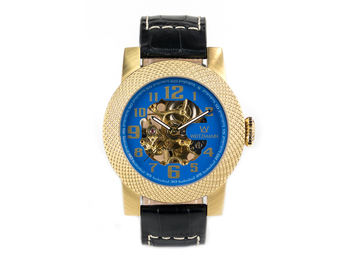 Scorpia gold, blue dial, leather strap