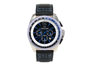 Race One blue, black dial, buffalo leather strap
