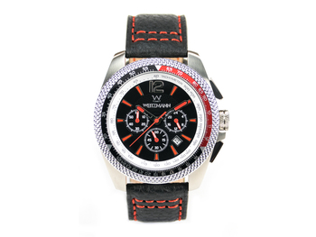 Race One red, black dial, buffalo leather strap