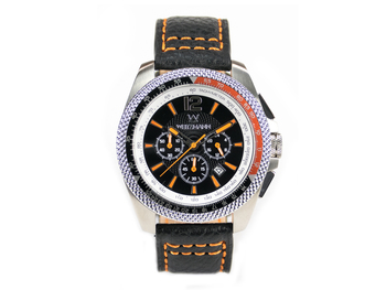 Race One orange, black dial, buffalo leather strap