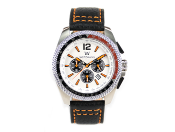 Race One orange, white dial, buffalo leather strap