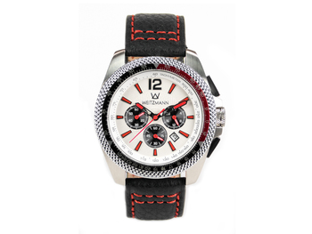 Race One red, white dial, buffalo leather strap