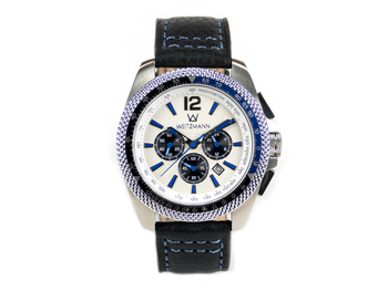 Race One blue, white dial, buffalo leather strap
