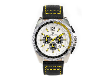 Race One yellow, white dial, buffalo leather strap