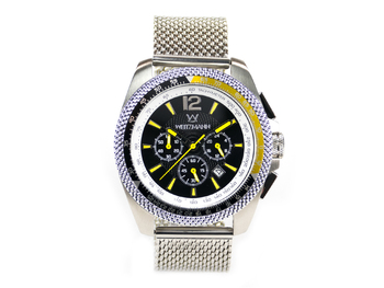 Race One yellow, black dial, Milanaise mesh bracelet