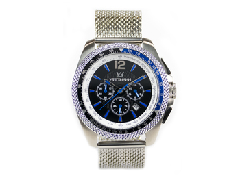 Race One blue, black dial, Milanaise mesh bracelet