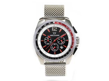 Race One red, black dial, Milanaise mesh bracelet