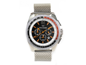 Race One orange, black dial, Milanaise mesh bracelet