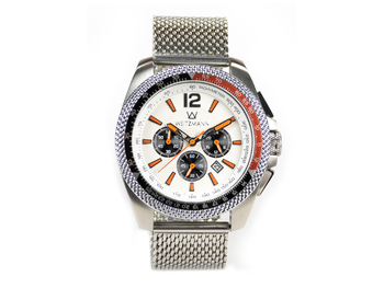 Race One orange, white dial, Milanaise mesh bracelet