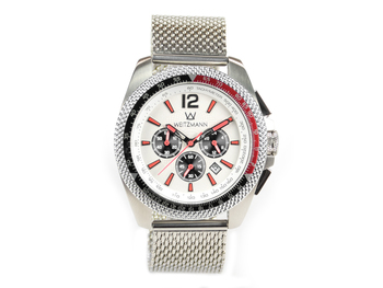Race One red, white dial, Milanaise mesh bracelet