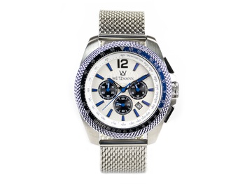 Race One blue, white dial, Milanaise mesh bracelet