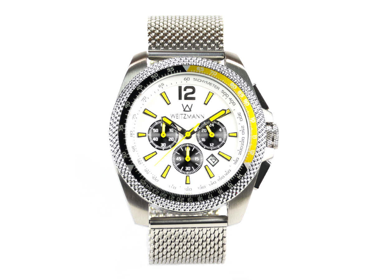 Race One yellow, white dial, Milanaise mesh bracelet