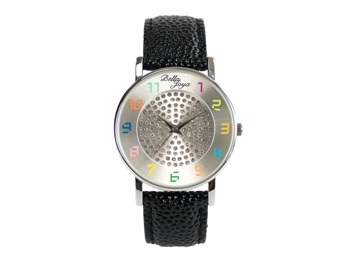 Elba, Young-Fashion-Uhr, Echtlederband schwarz