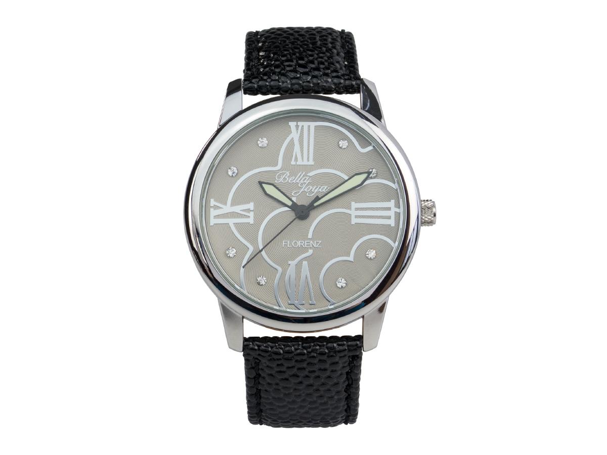 Florenz, modische Damen-Uhr, Echtlederband schwarz