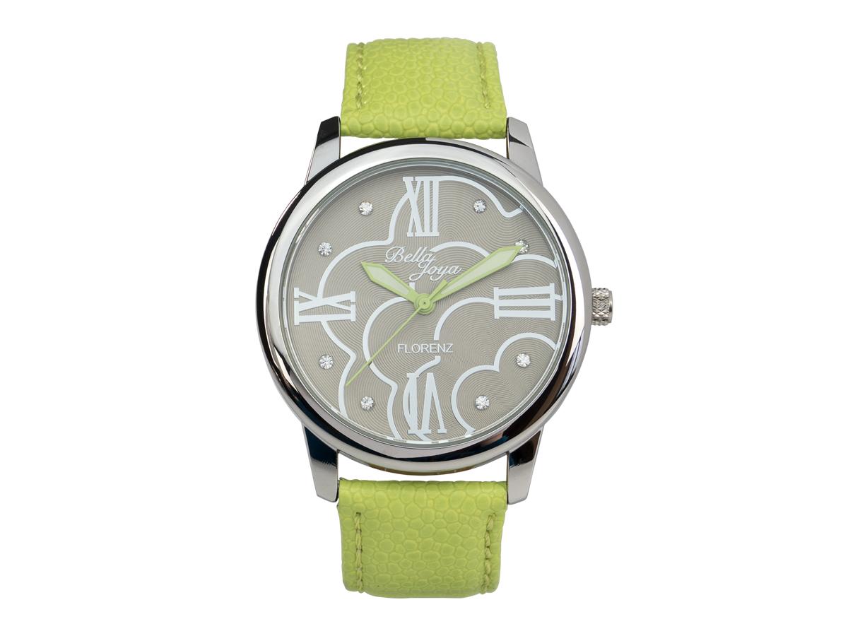 Florenz, modische Damen-Uhr, Echtlederband hellgrün