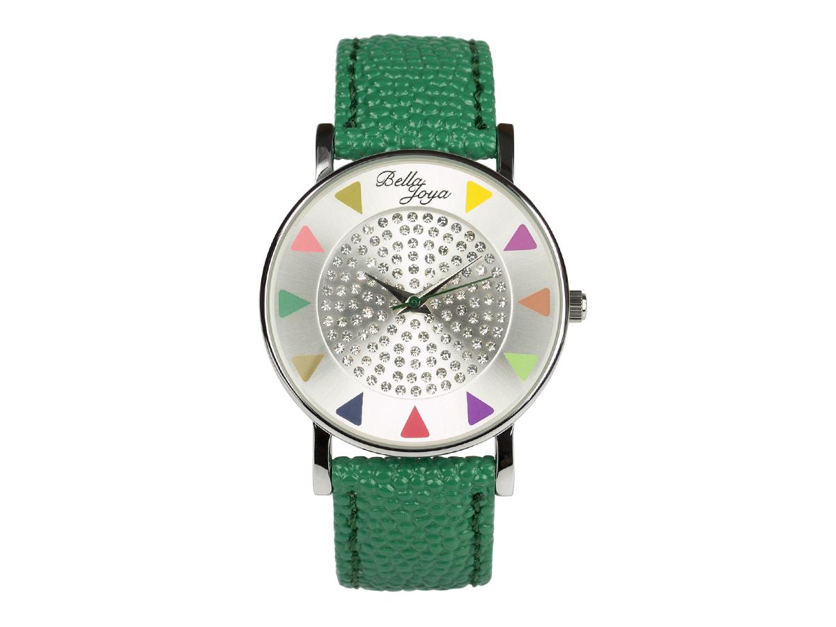 Ibiza silber, stylische Trend-Fashion-Uhr, Echtlederband grün