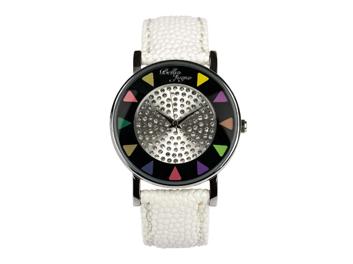 Ibiza schwarz, stylische Trend-Fashion-Uhr, Echtlederband weiß