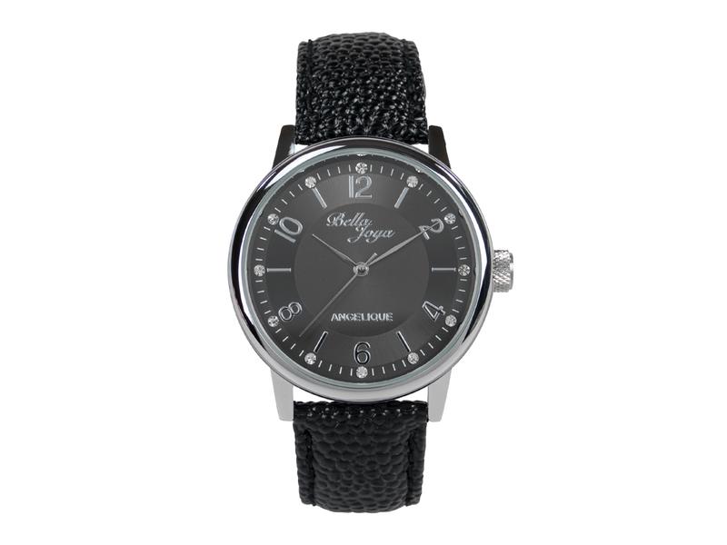 Angelique silber, elegante Mode-Uhr, Echtlederband schwarz