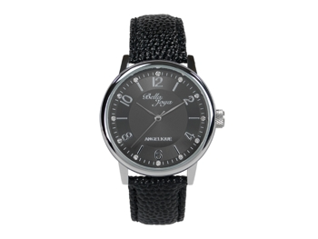 Angelique, silver, black leather strap