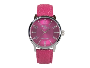 Angelique, silver, magenta leather strap