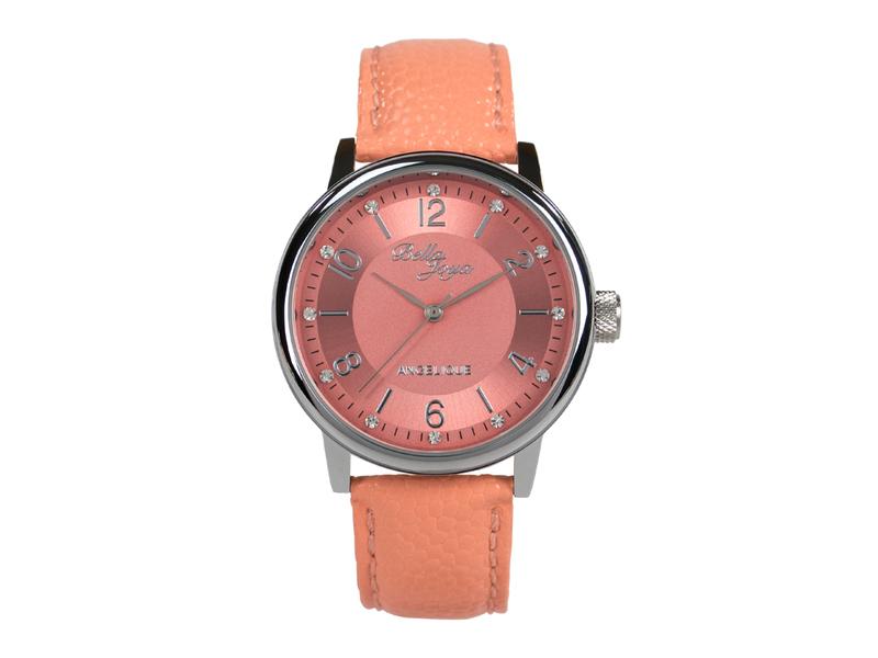 Angelique silber, elegante Mode- Uhr, Echtlederband apricot