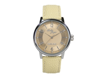 Angelique, silver, beige leather strap